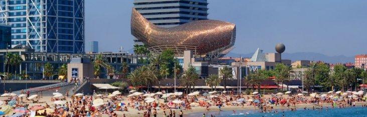 strand, barcelona, spanje, vakantie